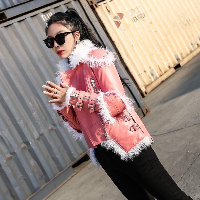 Manteau De Automne Fourrure Veste Peau Cuir Moutons Vintage Black En Zt1560 Vêtements Femmes 2019 D'hiver Coréen Mouton Véritable 0vqR01