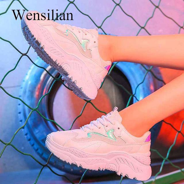 Moda Sneakers Için Kadın Eğitmenler Platformu Beyaz Sneakers Takozlar Örgü Bayanlar rahat ayakkabılar zapatillas tıknaz mujer plataforma