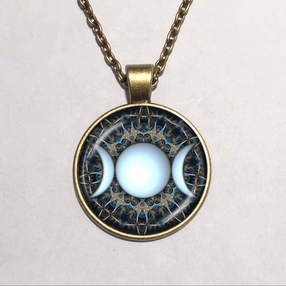 Fashion handmade alert medical diabetic glass dome necklace us 284 triple moon goddess pendant wiccan jewelry moon go aloadofball Images