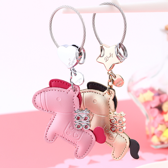 MILESI Sweet Love Car Keychain Happiness Coming With Horse Keyring Women's Fashion Pendant k0154