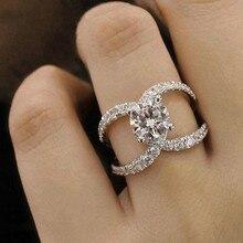 Оригинальность подарок другу классические кольца элегантный темперамент двойной C показать элегантный темперамент ювелирные изделия женские Девушки серебро Цирконий
