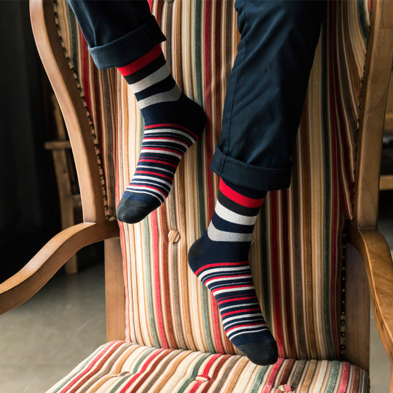 5 pairs lot colorful mens socks striped brand couple male winter Cotton socks chaussette homme font