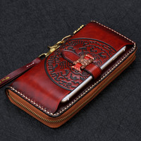 Handmad Vintage Cow Leather Wallets Embossing Classics Hasp Bag Purses Women Men Long Clutch Wallet Card Holder Phone Pocket