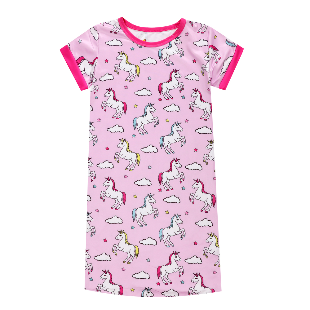 Brand New Summer Children Unicorn Nightgowns Girls Night Dress Baby Unicorn Girls Nightgown Pink Baby Sleepwear Pyjamas Files