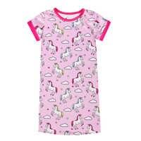 Camisones de unicornio para niños, vestido de noche de niña, ropa de dormir rosa con limas