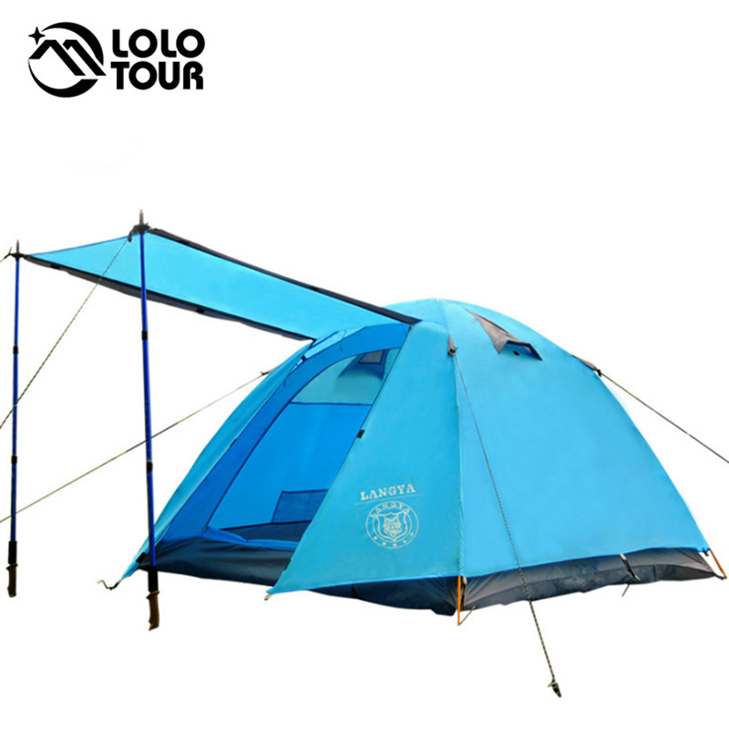 4 Season 4 Person Family Camping Tent Beach Awning Aluminum Rod Outdoor Waterproof Hiking Trekking Tourist Barraca Carpas Tente outdoor double layer 10 14 persons camping holiday arbor tent sun canopy canopy tent