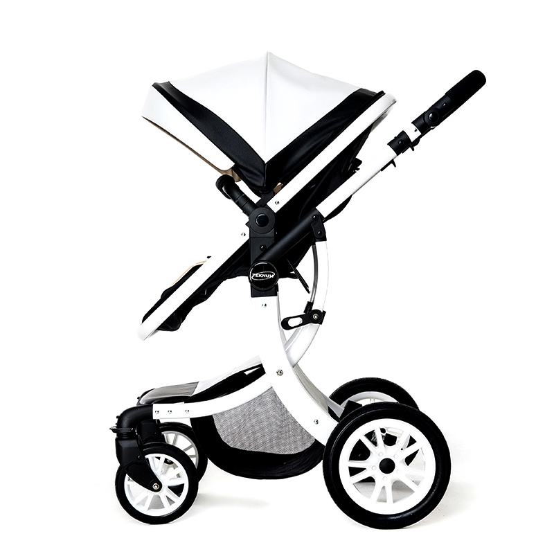 Light high-profile baby carriage two-way push can be sitting neonatal baby trolley alloy shock absorber big sleep basket high profile baby trolley ultra light can be lying down two way four wheel shock baby trolley