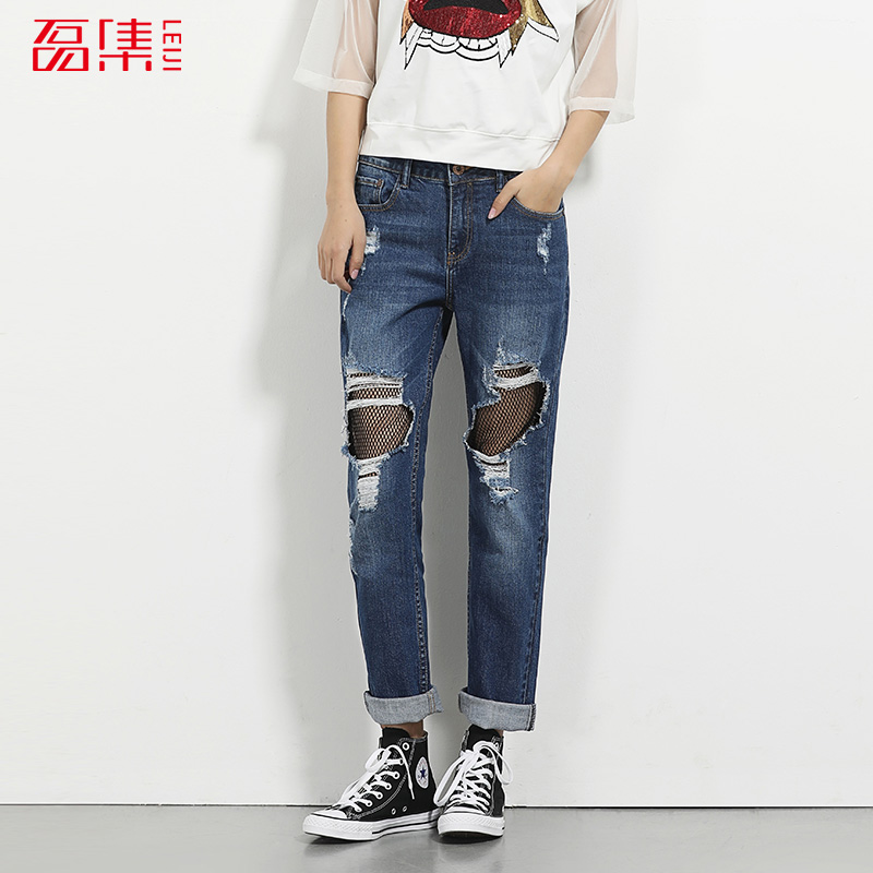 LEIJIJEANS 2017 Summer Fashion Net Patchwork Mid Waist Women Loose Style Full Length Boyfriend Jeans L-6XL Straight jeans Women 2017 leijijeans jeans women mid elastic dark blue plus size jeans with embroidery pants full length loose style straight fat mm