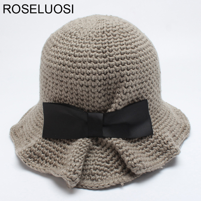11764a23352c9 ROSELUOSI Women Crochet Bucket Hats Autumn Winter New Bow-knot Knitted Panama  Hat Ladies Casual Hat Femininos Casequette