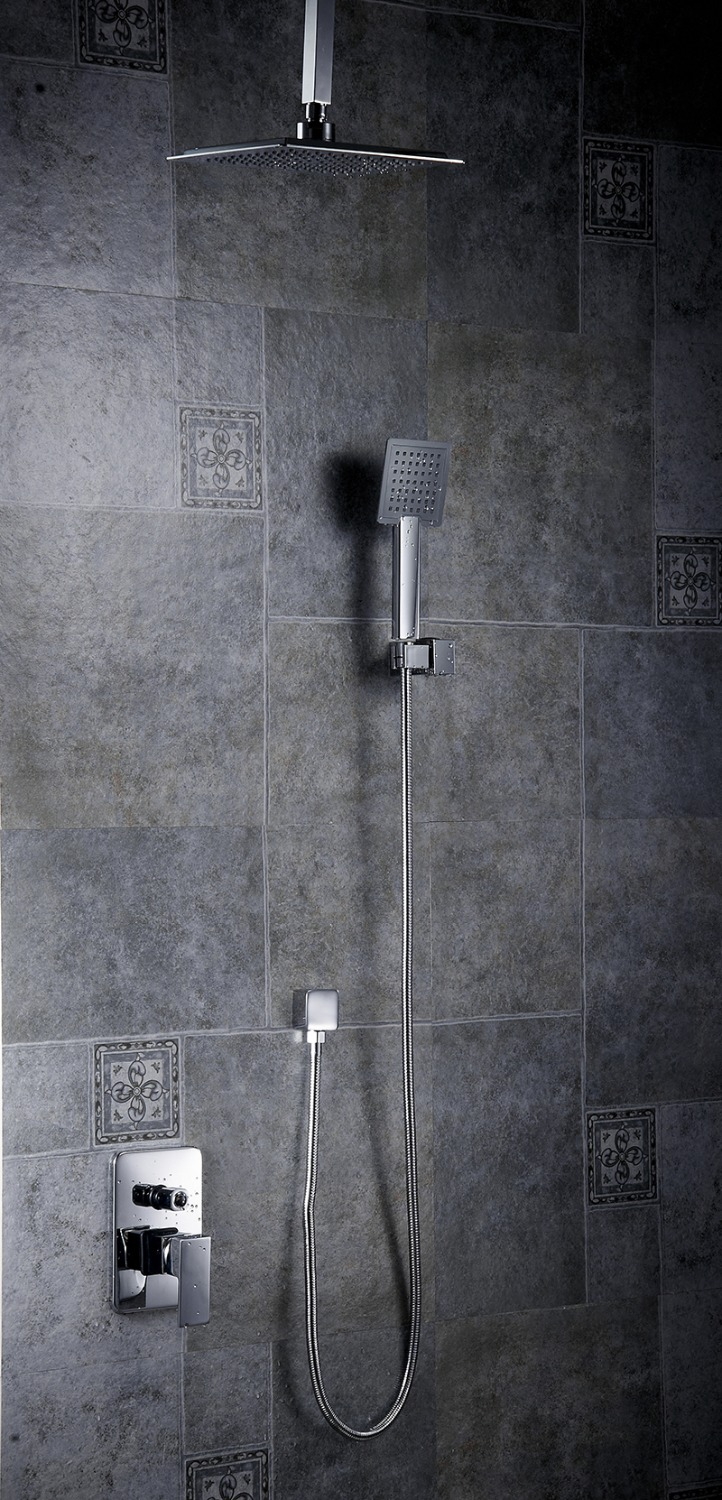 Shower Faucets Chrome Brass Wall Mounted Bathroom Rain Shower Head Square Big Handheld Waterfall Shower Faucet Mixer S