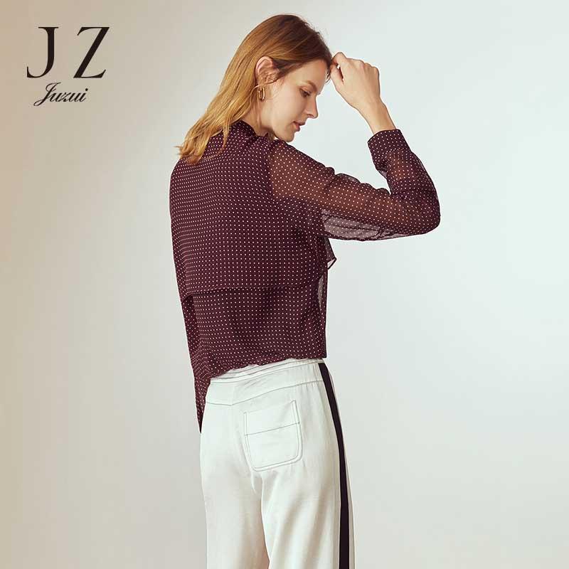2018 новая волна точка драпировка печати Кружева шифон рубашка Женский JUZUI