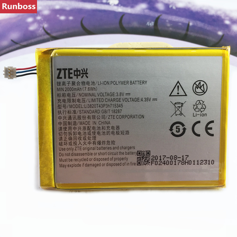 Original 2000 mAh Bateria Para ZTE Grande S Flex LI3820T43P3h715345/Para ZTE MF910 MF910S MF910L MF920 MF920S MF920W + bateria