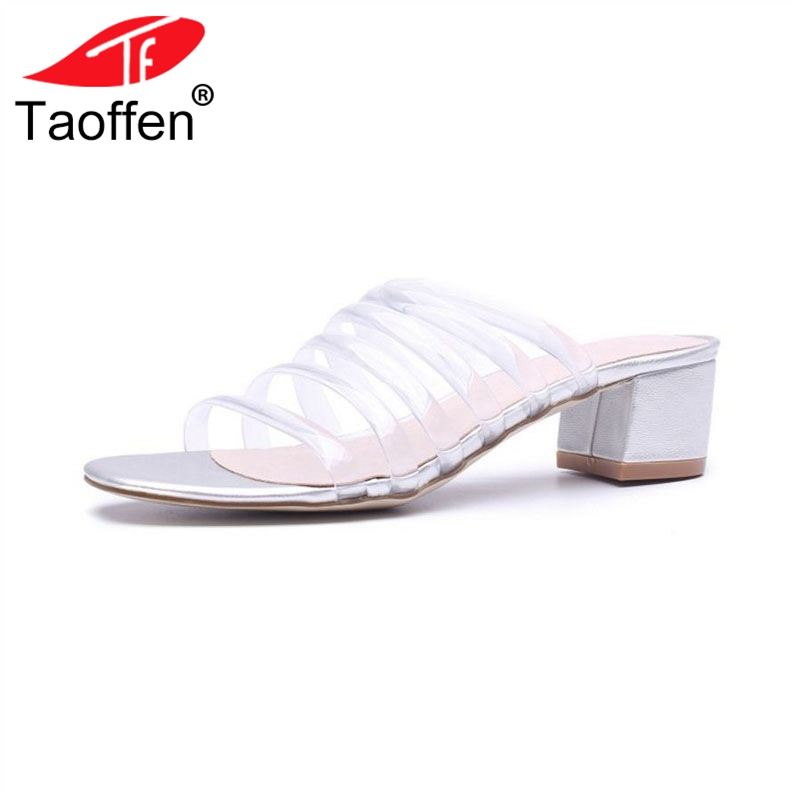 TAOFFEN Simple Women Real Genuine Leather High Heel Sandals Solid Color Thick Heel Slippers Summer Vacation Shoes Size 34-39 taoffen women high heel sandals open toe pleated concise slippers solid color shoes women footwear summer party size 34 39