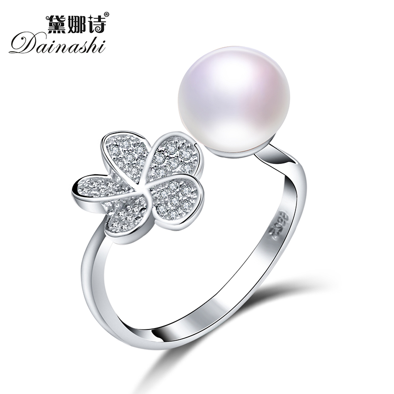 Trendy  Bread Round Pearl ForWomen Ring 100% Natural Freshwater Pearl Nice Adjustable Pearl Ring Daily Party For Girl Gift Box