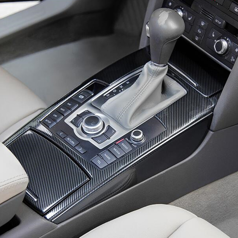 Center Console Gear Shift Water Cup Frame Cover Trim For Audi A6 C6 2005 2011 Carbon