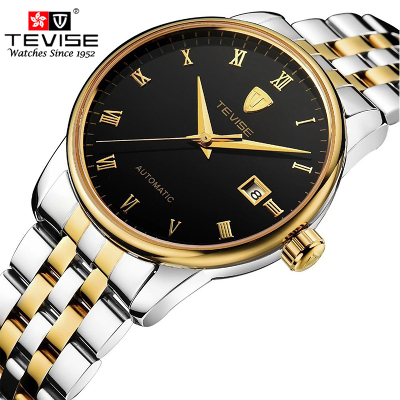 TEVISE Mens Watches Top Brand Luxury Men Watch Sports Calendar Clock Automatic Mechanical Wristwatch Hours relogio masculino tevise men black stainless steel automatic mechanical watch luminous analog mens skeleton watches top brand luxury 9008g