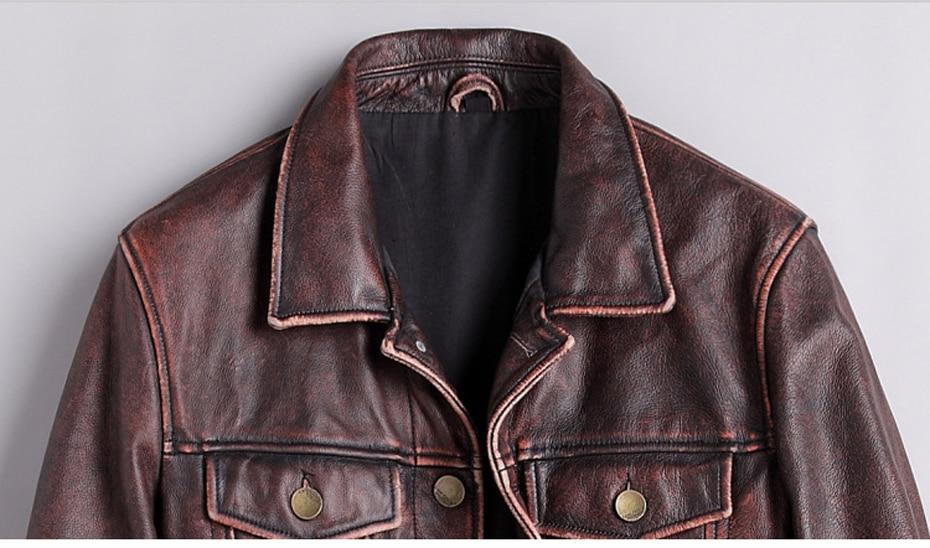 mens cowhide jacket Vintage Men 100% genuine leather Jackets Cow Jackets Zipper Stand Streetwear Leisure cool warm coat 18687-5