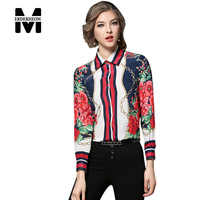 Merderheow New brand 2017 Spring Elegant Women Long sleeve Casual Shirt High quality Chiffon Print Ladies Blouse Plus size L36