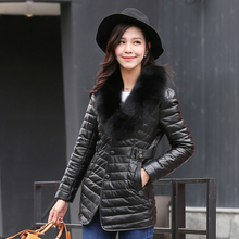 Women's Sheepskin Leather coat with White Duck Down 6602