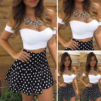 Thefound 2 Piece Sets Women Crop Top Skirt Bodycon Sexy