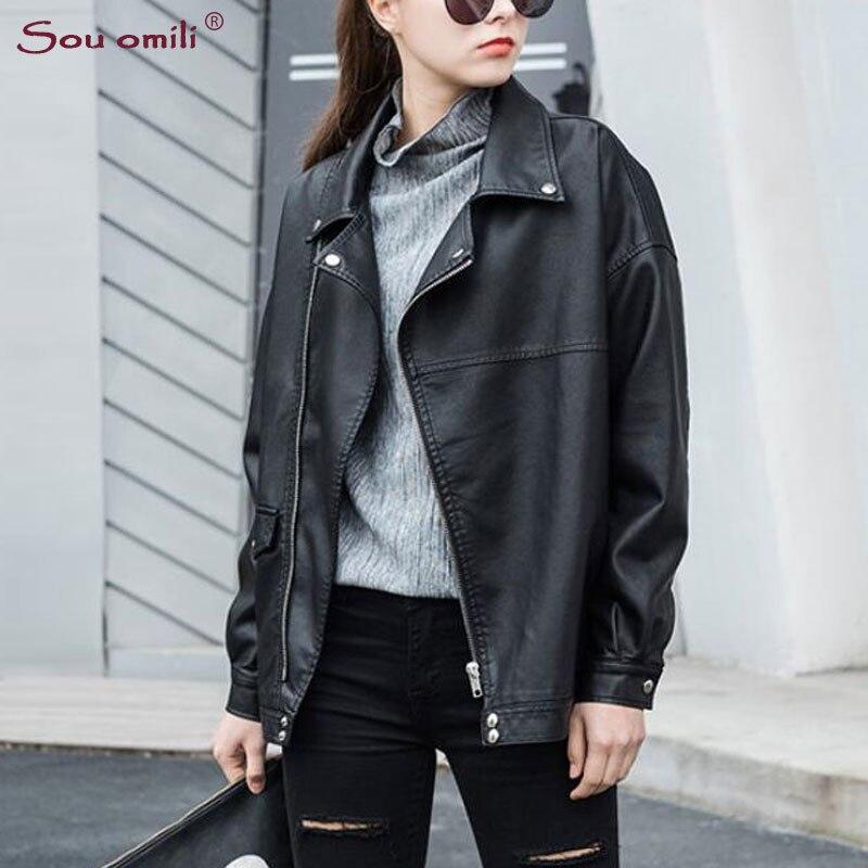 Boyfriend Oversize Leather Jacket Women Black Coat Moto