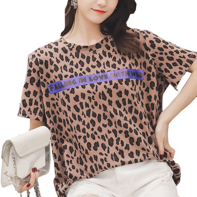 YZ Womens Leopard Print T Shirts Short Sleeve Tops Ladies 2019 Summer Loose Plus Size 4XL T-Shirts O-Neck Party Shirts Feminina