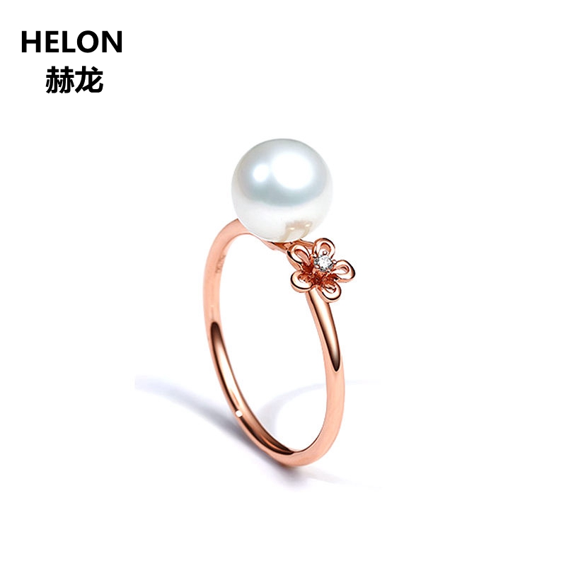 Solid 14k Rose Gold Natural Diamonds Engagement Wedding Ring for Women Freshwater Pearl Party Anniversary Fine Jewelry 2