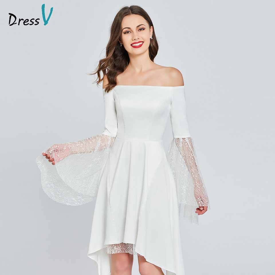 Dressv   cocktail     dress   off the shoulder long sleeves elegant lace knee length wedding party formal   dress     cocktail     dresses