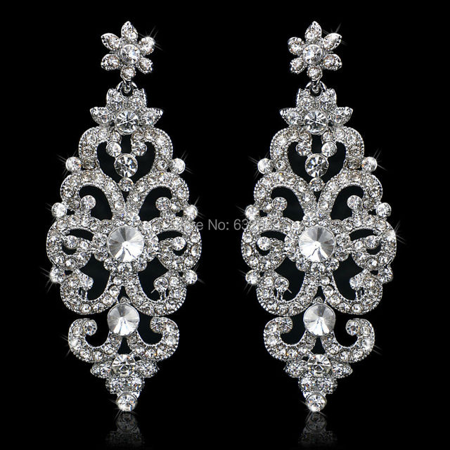 New Luxurious Fl Crystal Earrings For Women Large Dangle Bridal Wedding Accessories