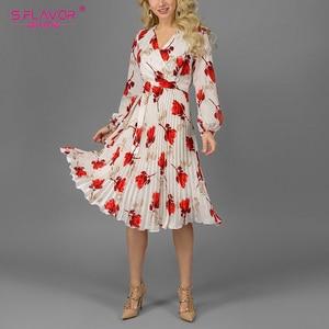 Image 3 - S. טעם נשים פרחוני מודפס אונליין שמלה אלגנטי V צוואר ארוך שרוול לבן Vestidos עבור נקבה נשים מקרית קיץ שמלה