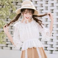 Summer Lolita Sweet Lace Ruffle Blouse White/Apricot/Black Girls Woman Shirt classic lolita sweet Lolita medieval Shirt