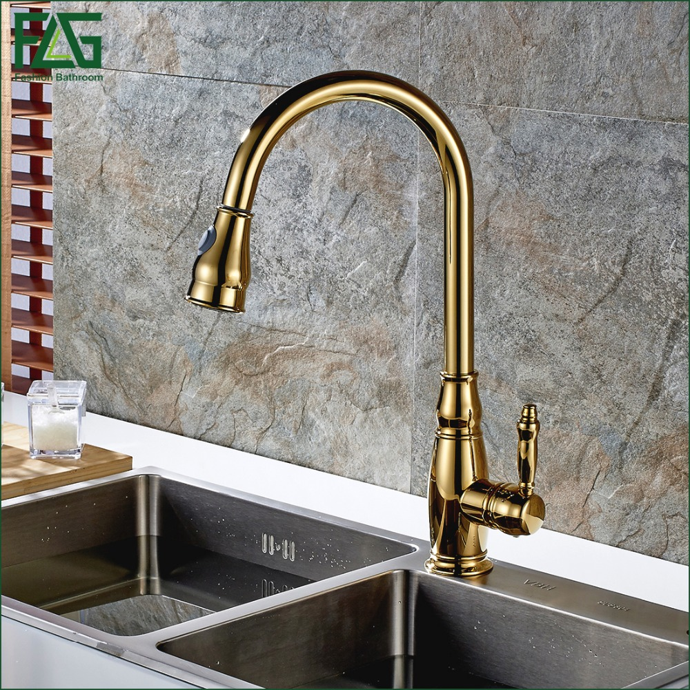 FLG Spring Style Kitchen Faucet Copper Golden Rotatable Single Handle Single Hole Sink Faucet Mixer Tap Torneira De Czinha C052G flg new modern accessories luxury european style golden copper toothbrush tumbler