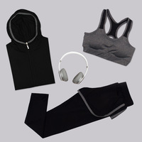 New 3 Pcs Women Quick Drying Yoga Sets Fitness Clothing Gym Slim Gym Clothes Cotton Breathable Sports Bra Pants Women