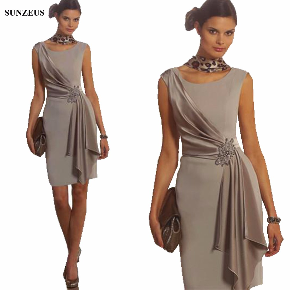 Sheath Short Mother Of The Bride Dress Scoop Neck Tank Women Wedding Party Dresses Groom Mother Guest Gowns CM0105