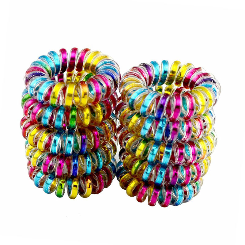 Lot 10 Pcs Size 3.5CM Elastic Hair Bands Girls Hair Accessories Rubber Band   Headwear   Hair Rope Spiral Ties Gum Telephone Wire