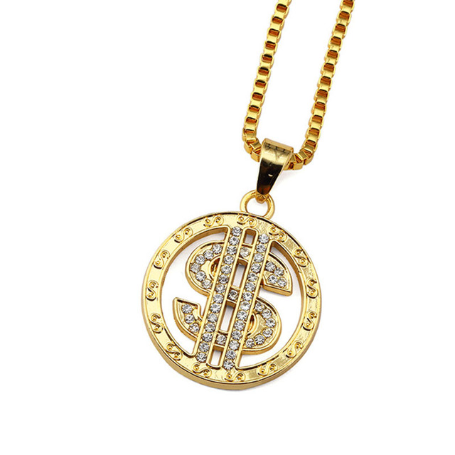 Modeschmuck kette gold  Aliexpress.com : Drehen Dollar Sign Halskette Iced Out Bling ...