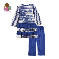 CONICE NINI Brand Fall Winter Girl Clothing Set Kids Blue Pants LOVE Pattern Ruffle Top Toddler