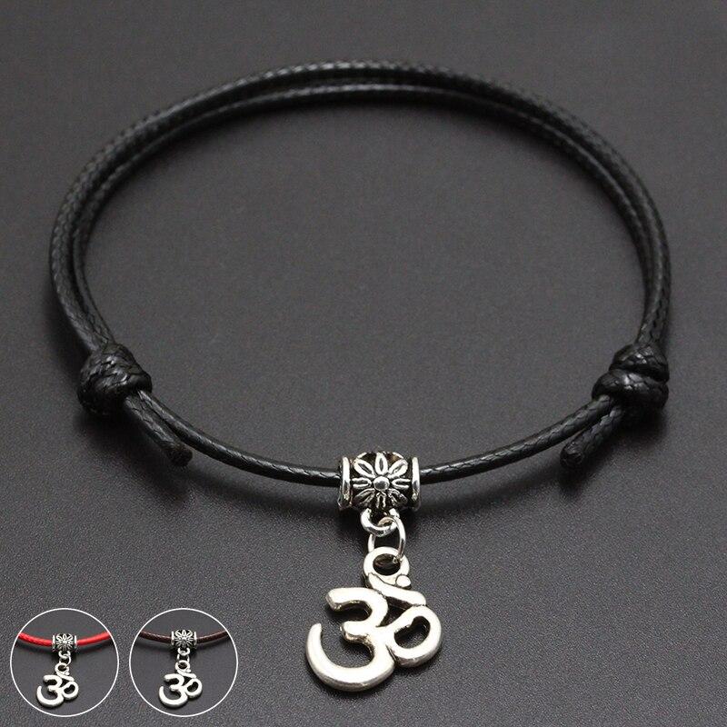 2020 New OM Yoga Charm Pendant Red Thread String Bracelet Lucky Black Coffee Handmade Rope Bracelet for Women Men Jewelry