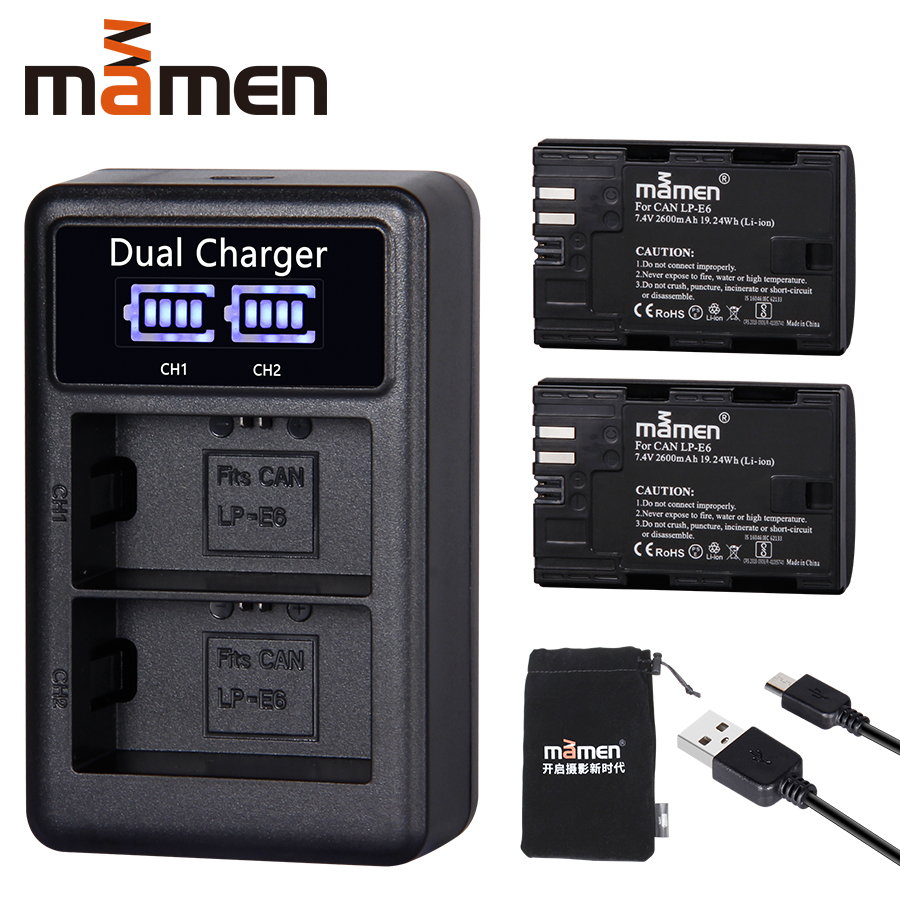 2600mAh LP E6 LP-E6 LPE6 Digital Camera Battery +USB LCD Dual Charger For Canon Mark II Mark III 6D 7D 60D 60Da 70D 80D 5DS 5D
