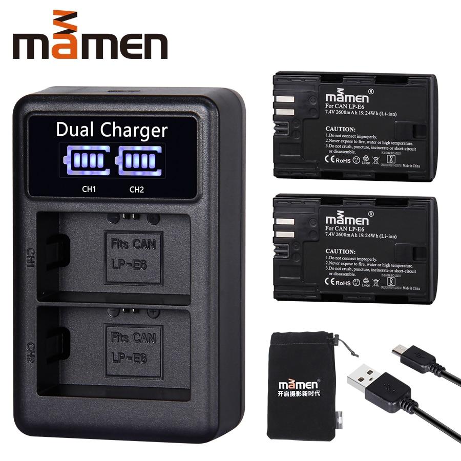 2600mAh LP E6 LP E6 LPE6 Digital Camera Battery USB LCD Dual Charger for Canon Mark