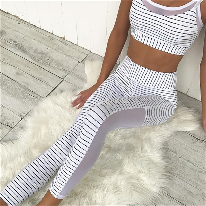 Women Sports Yoga Pants Fitness Sportwear Trousers Leggings Mesh Compression Gym Slim Splicing Leggings