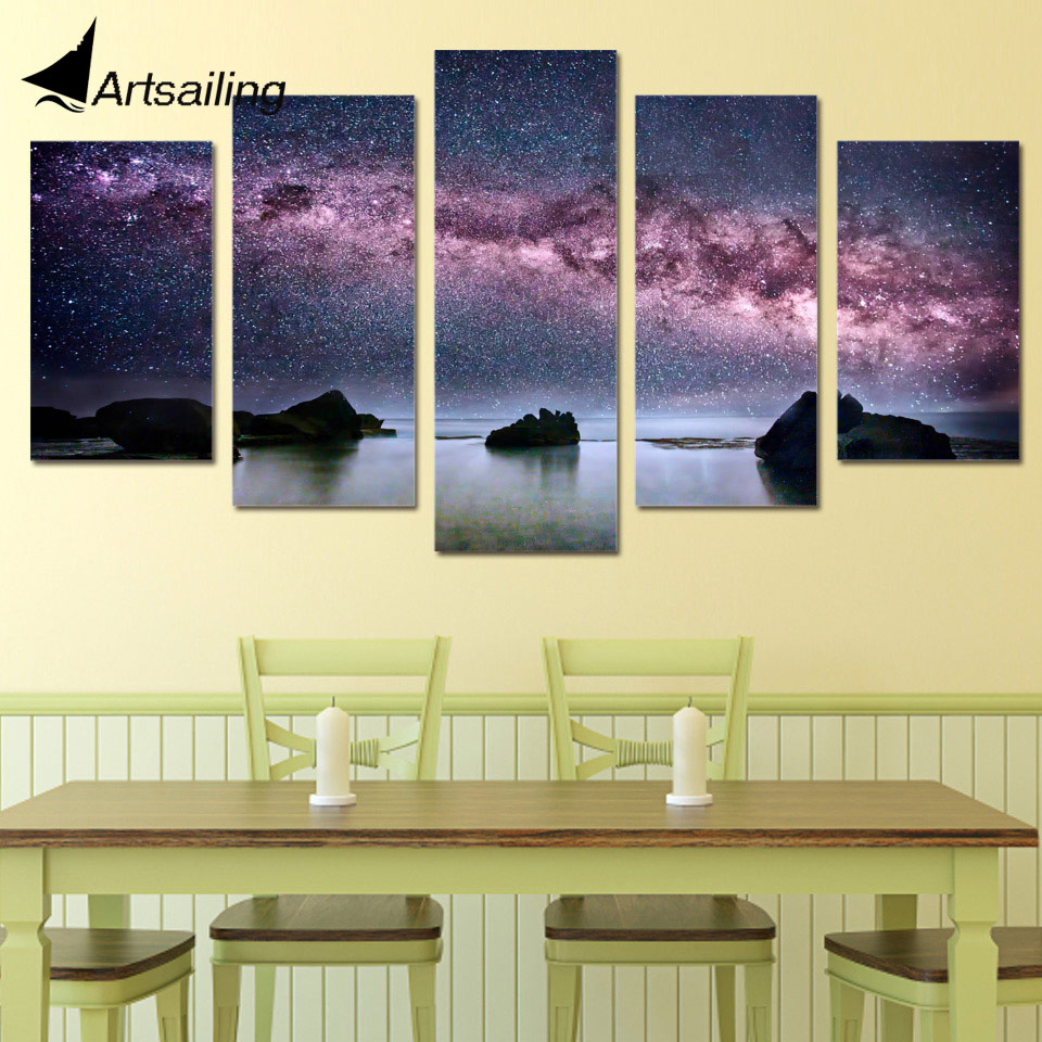 5 Piece Canvas Art Milky Way Stars Printed Wall Art Home Decor ...