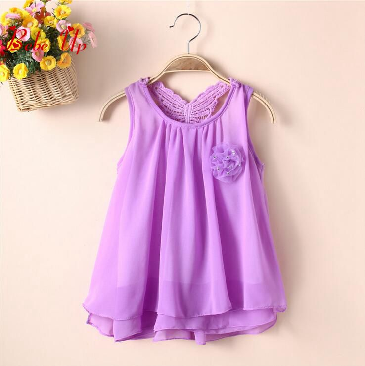 Children Flower Floral Appliques Clothing Kids Girls Baby O-Neck Sleeveless Summer Lace Hollow Dress Toddler Princess Clothes