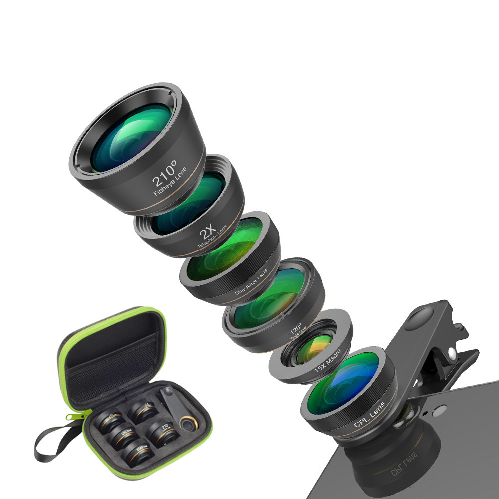 Universal 6 in 1 Phone Camera Lens Fish Eye Lens Wide Angle macro Lens CPL/Star Filter 2X tele for iphone Samsung XIAOMIUniversal 6 in 1 Phone Camera Lens Fish Eye Lens Wide Angle macro Lens CPL/Star Filter 2X tele for iphone Samsung XIAOMI