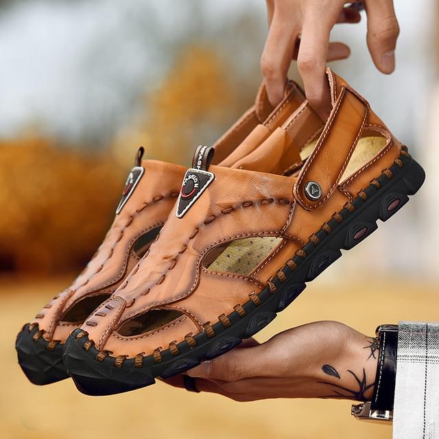 2019 New Casual Men Sandals Comfortable Men Summer Genuine Leather Sandals Men Roman Summer Outdoor Beach Sandals Big Size 38-46