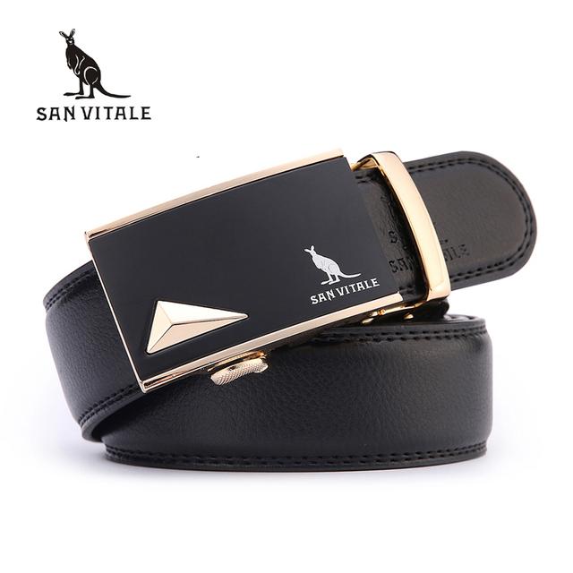 San vitale cinturones masculinos de los hombres nuevo diseñador de la marca de alta calidad Correa de Cuero genuina para Los Hombres de Oro Negro Hebilla Automática Cintura correa