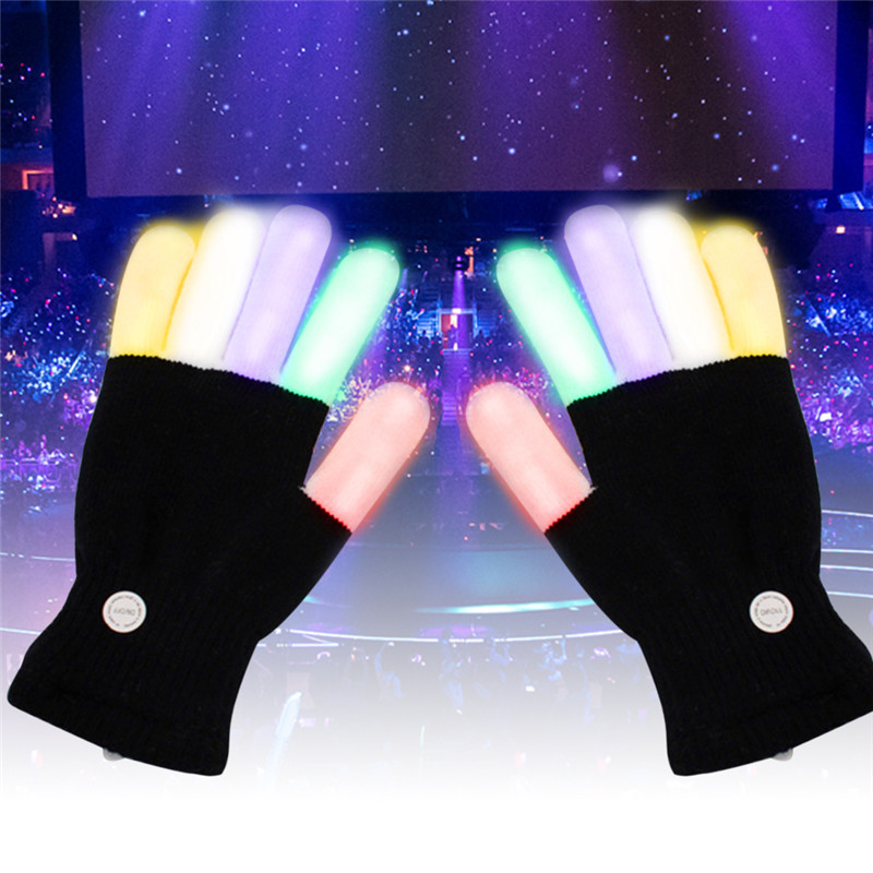 Cool 1 Pair LED Finger Lighting Mittens Flashing Glow Gloves Rave Light Festival Event Party Props Supplies Luminous Gloves
