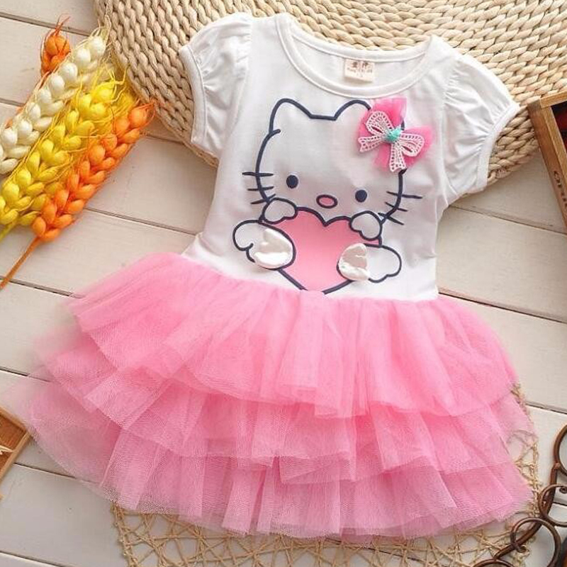 Toddler Girls Summer Hello Kitty tutu Princess Dresses Cotton Mesh Baby Girl Cartoon Party Dress Children's Costume Kid Clothing girls hello kitty happy birthday t shirts 2017 brand cartoon toddler girl dresses spring autumn girl dress