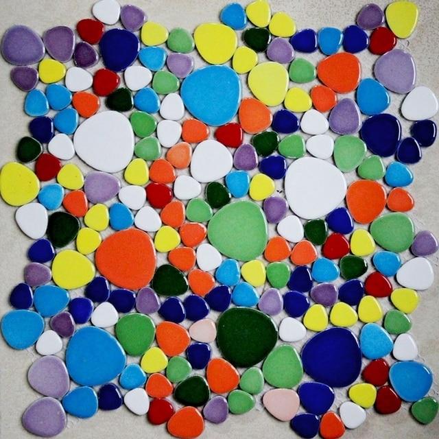 colorful mixed colors pebble ceramic tiles for bathroom shower floor tiles kitchen backsplash swimming pool mosaic - Colored Floor Tiles