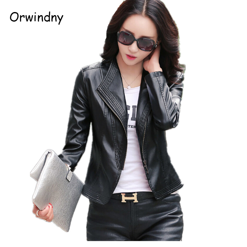 Spring and autumn female   leather   clothing slim   leather   coat outerwear fashion plus size top short women   leather   jacket 2019